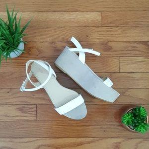 Zara Trafuluc White and Nude Wedges